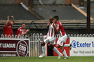 London - Saturday August 15th, 2009: Goalscorer Richard Logan (L) of Exeter City celebrates his goal with team mate Richard Duffy during the Coca Cola League One match at St James Park, Exeter. (Pic by Mark Chapman/Focus Images)