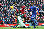 Liverpool striker Sadio Mane (10) scores Liverpool's fourth goal 4-0 during the Premier League match between Liverpool and Cardiff City at Anfield, Liverpool, England on 27 October 2018.
