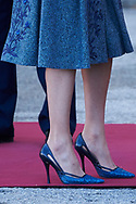 Queen Letizia of Spain attended the Official Reception and Honors of Ordinance to President of Portugal during his 3 days State Visit at Palacio Real on April 16, 2018 in Madrid, Spain