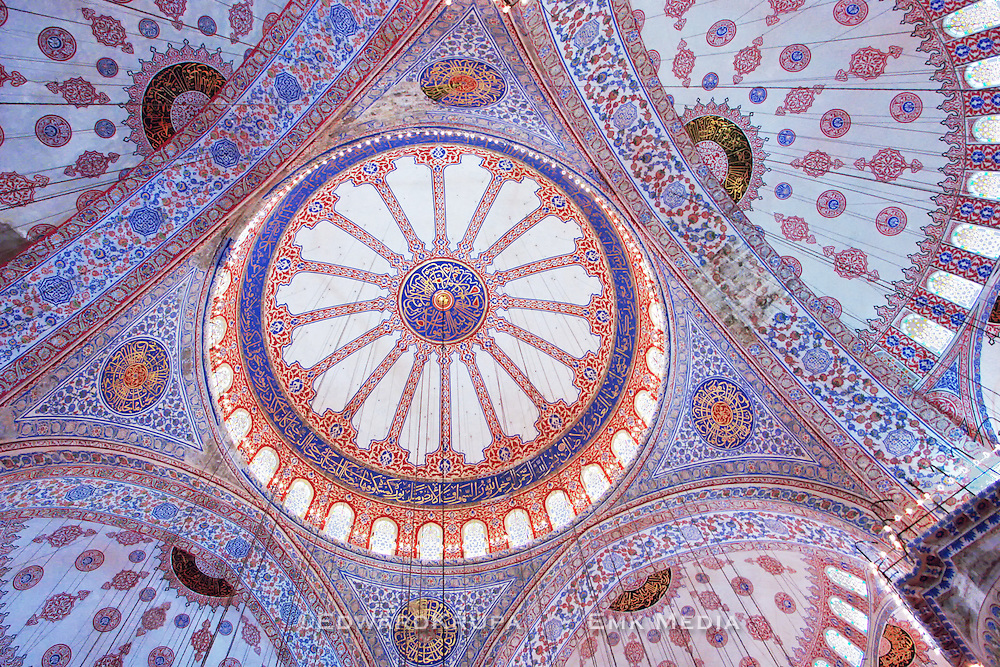 The Blue Mosque or Sultan Ahmed 1 Mosque in Istanbul is topped by an amazing  system  of ascending domes and semi-domes. The mosque is lined with more than 20,000 handmade ceramic tiles.