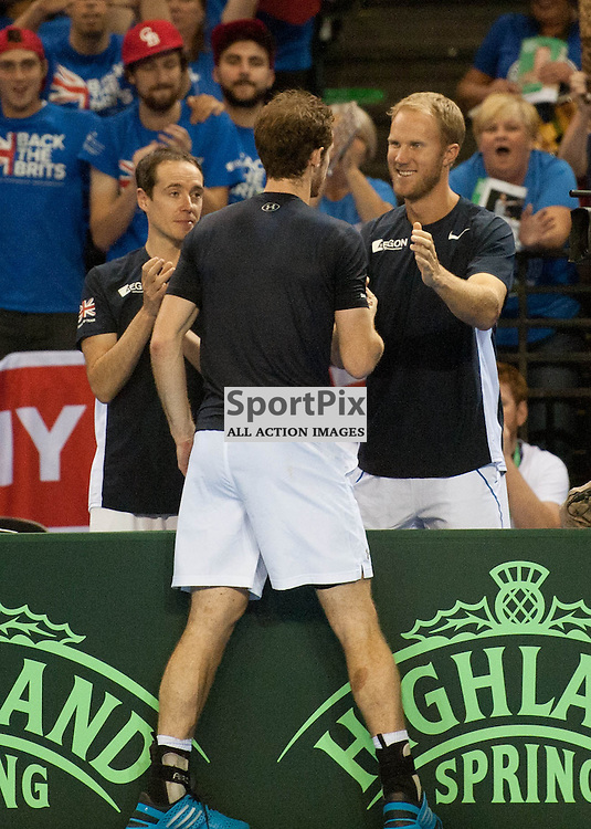 Andy Murray gets a congratulatory pat on the back from Dom Inglot as the Murray brothers win the doubles rubber between Great Britain v Australia, Semi Finals,  Aegeon Davis Cup by BNP Paribas, Saturday 19 September 2015 (c) Angie Isac | SportPix.org.uk