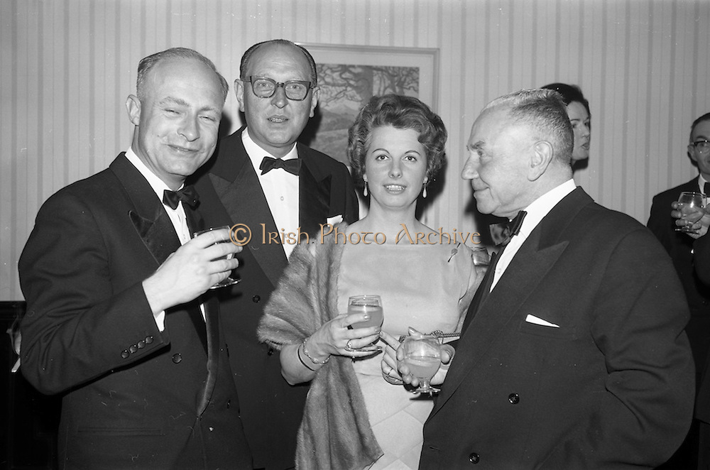 08/05/1964<br /> 05/08/1964<br /> 08 May 1964<br /> Reception and buffet dinner-dance for 5th Annual Tara Cup Rotterdam - Dublin Air Rally given by J.H. Van Anrooy at the Glencormac House Hotel, Co. Wicklow. At the event were (l-r): Mr. Renne de Monchy, Presidentt of the Rotterdam Aero Club; Mr. R. Uges, President of the Hague Aero Club; Miss J.M. Wilson of Yorkshire, a competitor in the rally and Mr. A.G. Wilson of Yorkshire.