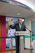 Duane Nellis, Ohio University president,  speaks at the grand opening and ribbon cutting for the new CoLab, Ohio University's hub of innovation and entrepreneurial activities, on the third floor of the Vernon Alden Library, October 18, 2018. (Photo by Stephen Zenner/Ohio University Libraries)