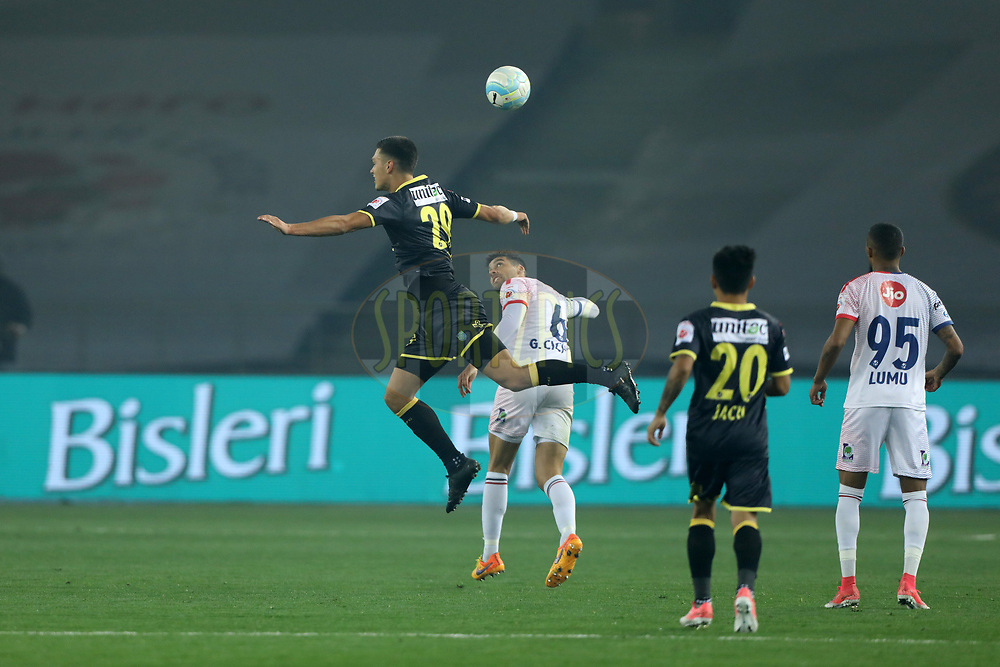 Mark Sifneos of Kerala Blasters FC during match 43 of the Hero Indian Super League between Delhi Dynamos FC and Kerala Blasters FC  held at the Jawaharlal Nehru Stadium, Delhi, India on the 10th January 2018<br /> <br /> Photo by: Arjun Singh  / ISL / SPORTZPICS