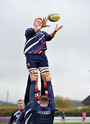 James Dun of Bristol United rises in line-out during warm-up - Mandatory by-line: Paul Knight/JMP - 18/11/2017 - RUGBY - Clifton RFC - Bristol, England - Bristol United v Gloucester United - Aviva A League