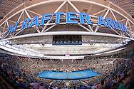 Stadium Wide Angel Of Andrea Petkovic (GER) and Samantha Stosur (AUS), April 19, 2014 - TENNIS : Fed Cup, Semi-Final, Australia v Germany. Pat Rafter Arena, Brisbane, Queensland, Australia. Credit: Lucas Wroe