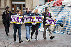 © Licensed to London News Pictures . 04/06/2014 . Newark , Nottinghamshire , UK . UKIP campaigners in Market Square , Newark today (Wednesday 4th June 2014) ahead of the Newark by-election tomorrow (Thursday 5th June 2014) . Photo credit : Joel Goodman/LNP