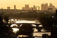France. Paris; Elevated view on the Seine river and paris bridges. cityscape  and la Defense. view from the Sainte Chapelle