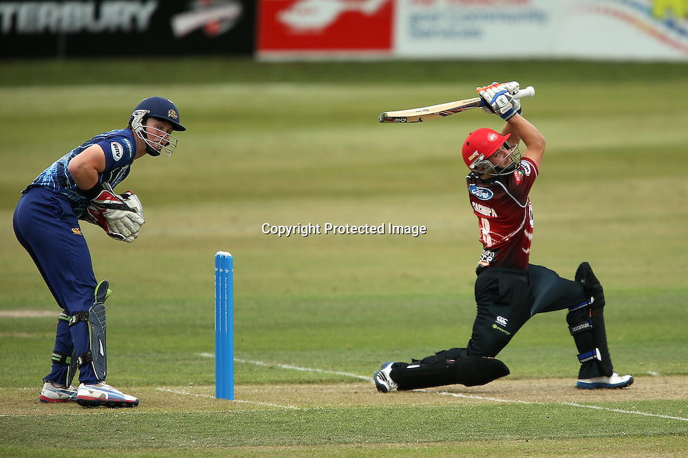 Canterbury's Brad Cachopa bats during the HRV Cup Twenty20 Cricket match between Canterbury Wizards and Otago Volts at Aorangi Oval, Timaru on Thursday 27 December 2012. Photo: Martin Hunter/Photosport.co.nz