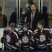 Union College players  and Rick Bennett, Union College head coach, react during the Yale Vs Union College, Men's College Ice Hockey game at Ingalls Rink, New Haven, Connecticut, USA. 28th February 2014. Photo Tim Clayton