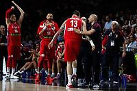 Serbia´s Raduljica and coach Sasha Djordjevic during FIBA Basketball World Cup Spain 2014 final match between United States and Serbia at `Palacio de los deportes´ stadium in Madrid, Spain. September 14, 2014. (ALTERPHOTOSVictor Blanco)