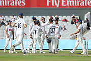 Essex celebrate a wicket during the Specsavers County Champ Div 1 match between Lancashire County Cricket Club and Essex County Cricket Club at the Emirates, Old Trafford, Manchester, United Kingdom on 9 June 2018. Picture by George Franks.