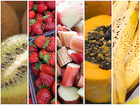 Collage of various fruits and vegetable