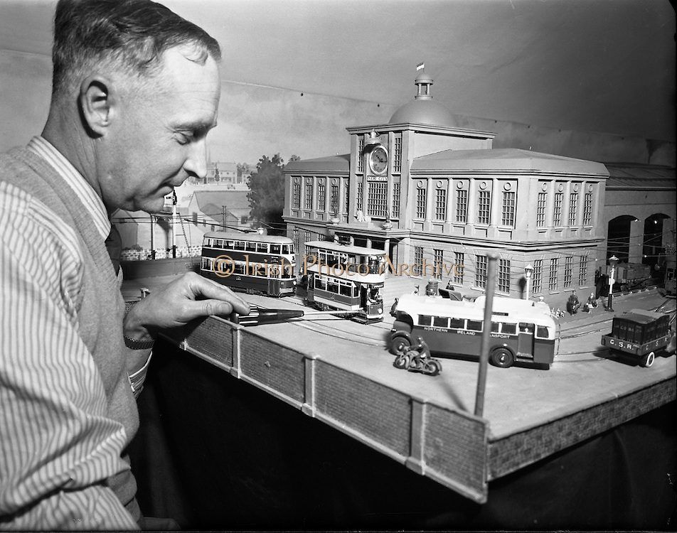 Mr Cyril Fry, Dundrum, Co. Dublin, with his Miniature Belfast Tram.10/06/1954