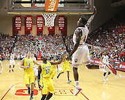 Indiana Hoosiers guard Victor Oladipo (4) about to dunk during an NCAA basketball game between Michigan and Indiana University at Assembly Hall. #3 Indiana beat #1 Michigan 83-73.