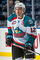 KELOWNA, CANADA - SEPTEMBER 29: Erik Gardiner #12 of the Kelowna Rockets warms up with the puck against the Everett Silvertips on September 29, 2017 at Prospera Place in Kelowna, British Columbia, Canada.  (Photo by Marissa Baecker/Shoot the Breeze)  *** Local Caption ***