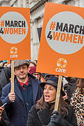 Natalie Imbruglia and Michael Sheen - #March4Women 2018, a march and rally in London to celebrate International Women's Day and 100 years since the first women in the UK gained the right to vote.  Organised by Care International the march stated at Old Palace Yard and ended in a rally in Trafalgar Square.