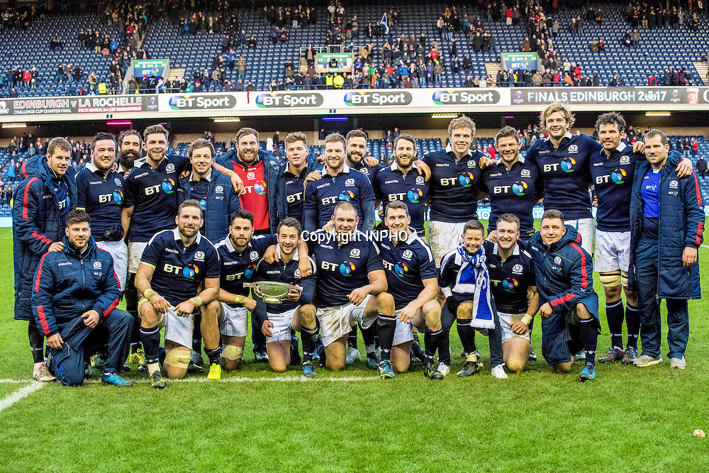RBS 6 Nations Championship Round 1, BT Murrayfield, Scotland 4/2/2017<br /> Scotland vs Ireland<br /> The Scotland team celebrate with the Quaich trophy<br /> Mandatory Credit &copy;INPHO/Craig Watson