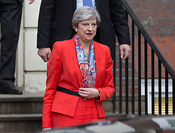 """Prime Minister Theresa May leaves Conservative Party HQ in Westminster, London, after Mrs May said Conservatives will act to ensure """"stability"""" if the Tories are the largest party with the biggest number of votes, as expected."""