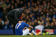 Everton midfielder Muhamed Besic  is injured during the Barclays Premier League match between Everton and Swansea City at Goodison Park, Liverpool, England on 24 January 2016. Photo by Simon Davies.
