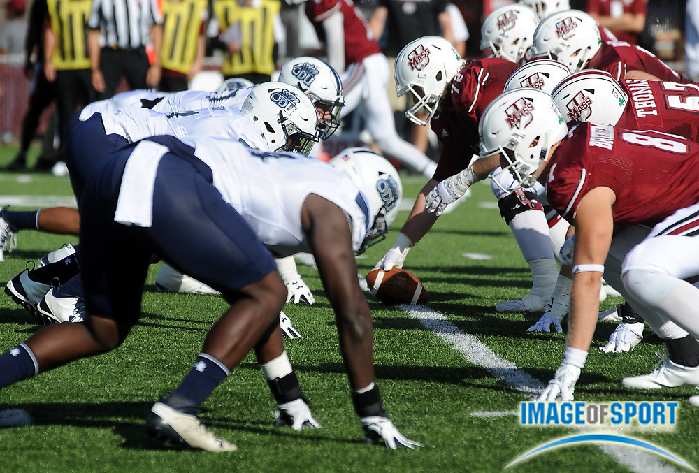Sep 9, 2017; Amherst, MA, USA; Massachusetts offense lines up against Old Dominion during a NCAA football game at McGuirk Alimni Stadium. The Old Dominion Monarchs defeated the University of Massachusetts Minutemen 17-7. Photo by Reuben Canales