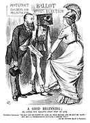 "A Good Beginning; Or, Little Boy Ballot's first step in life. Successful candidate. ""He may not be pretty to look at, dear madam, and he may be 'slow;' but he's a tremendous success, I assure you!"" [See Mr Childers' speech at Pontefract."
