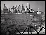 Riding the Ferry across Upper New York Bay vieing old lower manhatten before the World Trade Center Buildings were built across the water