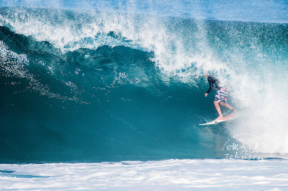 John John Florence surfing at Backdoor Pipeline, North Shore, Oahu, Hawaii