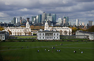 The National Maritime Museum and the Old Royal Naval College with the city of London in the background. The view is from the Royal Observatory<br />