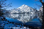 Snowy Teton peaks reflect in Jenny Lake, Grand Teton National Park, Wyoming, USA.