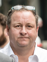 © Licensed to London News Pictures. 03/07/2017. London, UK. Newcastle United owner Mike Ashley  arrives at the High Court. Mr Ashley is in dispute with financial expert  Jeffrey Blue over payments promised in relation to the share price of Sports Direct. Photo credit: Peter Macdiarmid/LNP