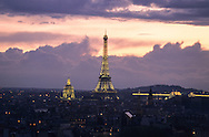 France. Paris. elevated view.Panoramic view of Paris a at sunset