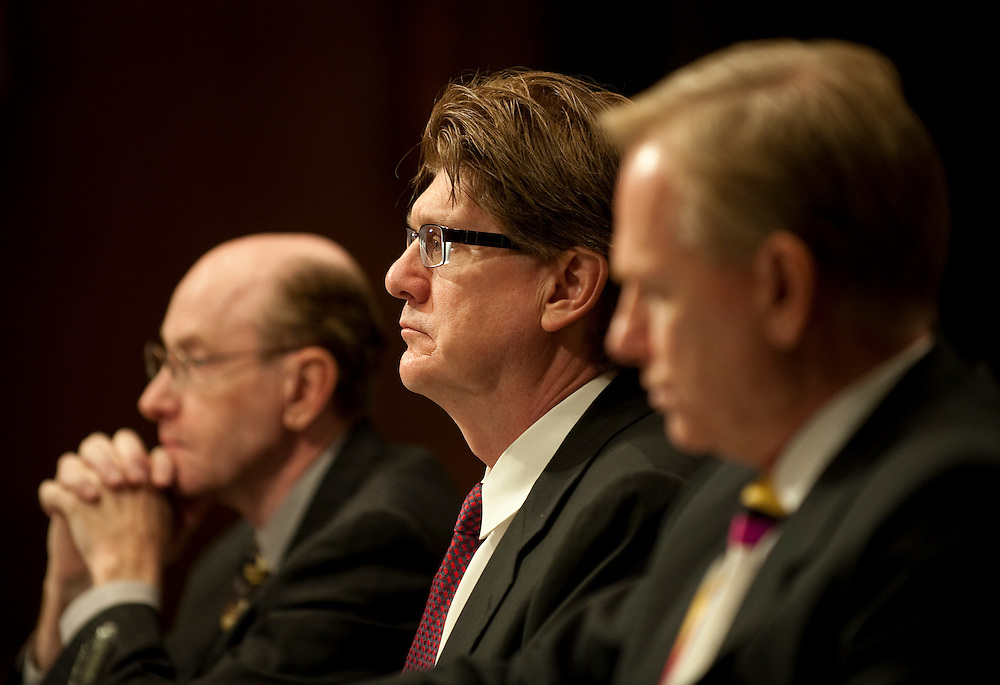 """Apr 13,2010 - Washington, District of Columbia USA -.The Senate Investigations Subcommittee hearing on """"Wall Street and the Financial Crisis: The Role of High Risk Home Loans.""""..Pictured: (left to right)James Vanasek, former risk officer (2004-2005); .Ronald Cathcart, former risk officer (2006-2008); .Randy Melby, former general auditor; .of Washington Mutual Bank listens as Senator Carl Levin makes his opening statement. (Credit Image: © Pete Marovich/ZUMA Press)"""
