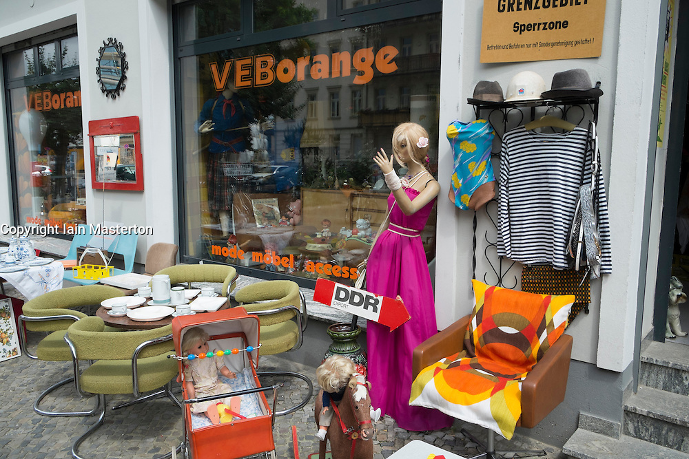 Vintage memorabilia from former East Germany for sale in shopin bohemian Prenzlauer Berg district of Berlin Germany