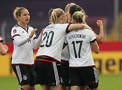 12.04.2016, Osnatel Arena, Osnabrueck, GER, UEFA Euro Qualifikation, Frauen, Deutschland vs Kroatien, im Bild Torjubel ueber das Tor zum 1:0 durch Dzsenifer Marozsan (#10, Deutschland) mit Saskia Bartusiak (#3, Deutschland), Babett Peter (#14, Deutschland), Pauline Bremer (#20, Deutschland), Isabell Kerchowski (#17, Deutschland) // during the UEFA Womens Euro Qualification Match between Germany and Croatia at the Osnatel Arena in Osnabrueck, Germany on 2016/04/12. EXPA Pictures &copy; 2016, PhotoCredit: EXPA/ Eibner-Pressefoto/ Deutzmann<br /> <br /> *****ATTENTION - OUT of GER*****