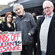 Roger Waters of Pink Floyd and Craig Murry is a British Diplomat Protest against Julian Assange Extradition Free speech is not a Crimes, on 22th Feb 2020  in London, UK