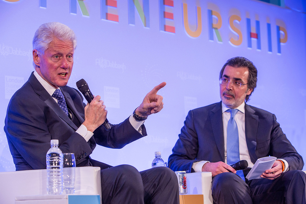 Bill Clinton, 42nd President of the United States in conversation with His Excellency Amr Al-Dabbagh. The 2014 Stars Foundation Philanthropreneurship Forum, Regents Park, London.