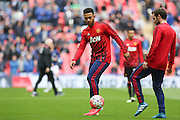Memphis Depay of Manchester United in warm up during the The FA Cup semi final match between Everton and Manchester United at Wembley Stadium, London, England on 23 April 2016. Photo by Phil Duncan.