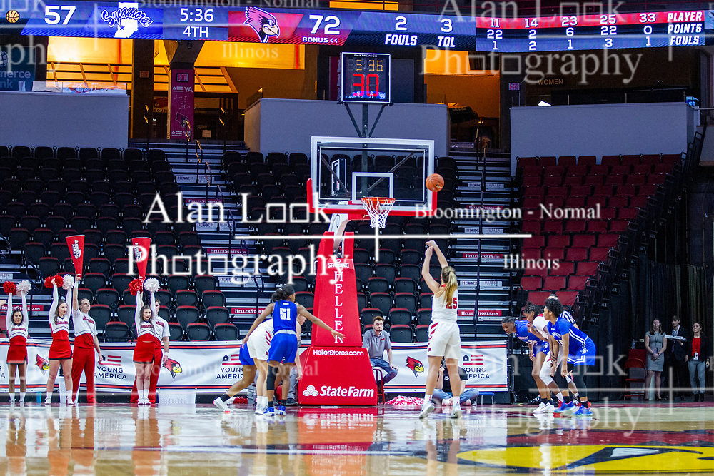 NORMAL, IL - January 03: Lexi Wallen shoots a free throw during a college women's basketball game between the ISU Redbirds and the Sycamores of Indiana State January 03 2020 at Redbird Arena in Normal, IL. (Photo by Alan Look)