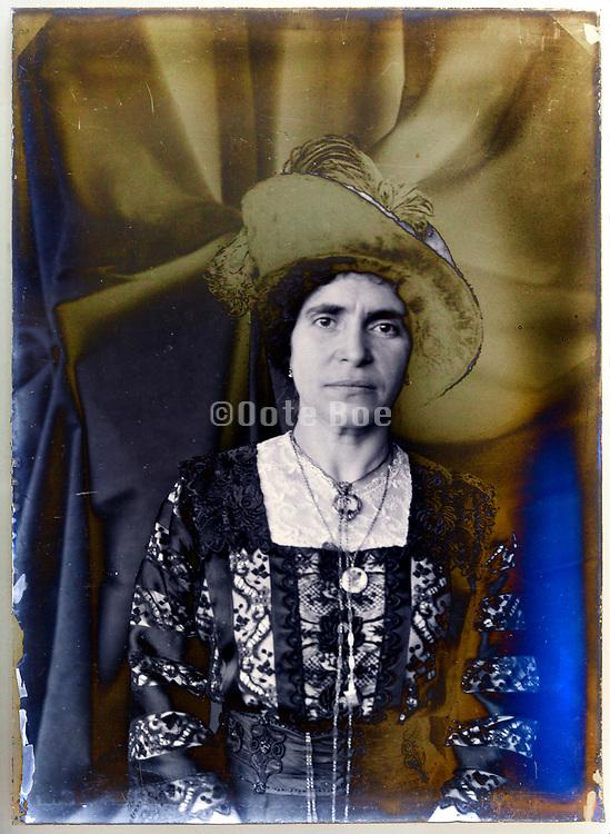 vintage deteriorating glass plate adult woman portrait France