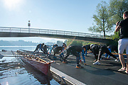 "Lucerne, SWITZERLAND, 12th July 2018, Friday  General View, Seeclub, Luzern"", Physical exercise, warm-up stretches ""Lake Lucerne',  Photographer, Karon PHILLIPS,"