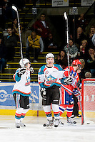 KELOWNA, CANADA, JANUARY 4: Colton Heffley #25 and Filip Vasko #10 of the Kelowna Rockets celebrate a goal as the Spokane Chiefs visit the Kelowna Rockets on January 4, 2012 at Prospera Place in Kelowna, British Columbia, Canada (Photo by Marissa Baecker/Getty Images) *** Local Caption ***
