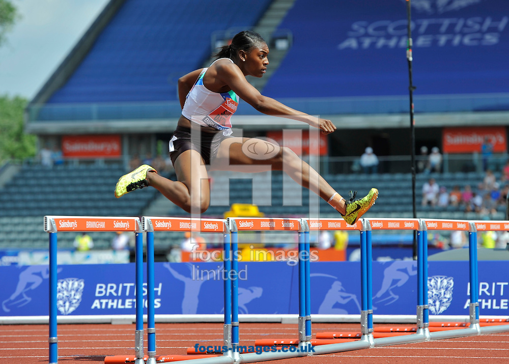 Picture by Alan Stanford/Focus Images Ltd +44 7915 056117<br /> 12/07/2013<br /> Winner Perri Shakes-Drayton (GBR) 400m Hurdles heat pictured during day two of Sainsbury's British Championship at Alexander Stadium, Birmingham.
