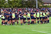 Edinburgh team bond before the Rugby Friendly match between Edinburgh Rugby and Bath Rugby at Meggetland Sports Compex, Edinburgh, Scotland on 17 August 2018.