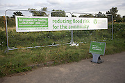 Environment Agency banner reducing flood risk for the community, Chillesford, Suffolk, England