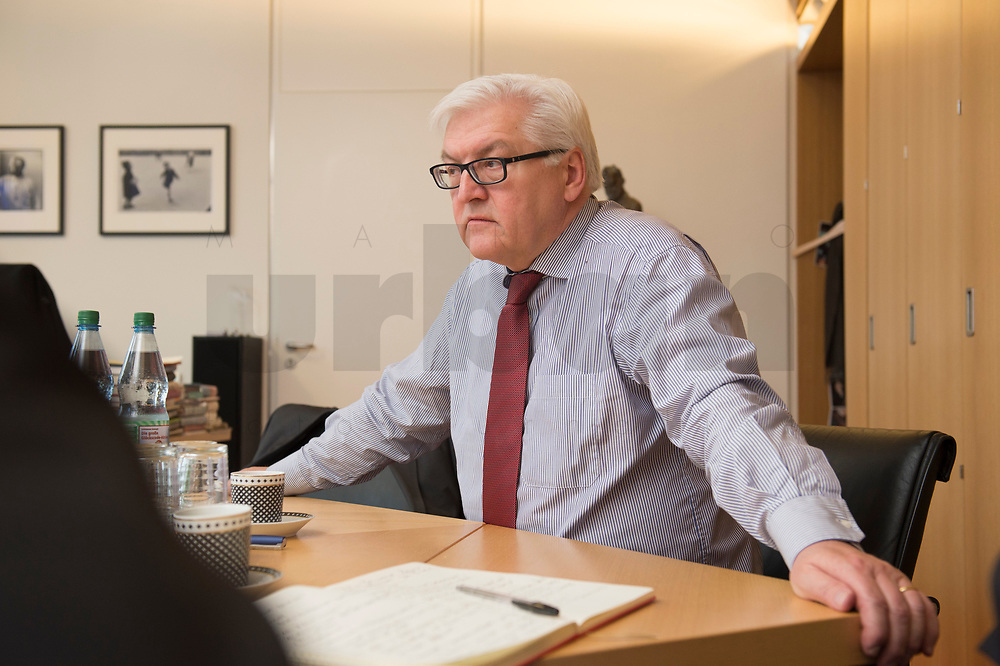 15 JAN 2013, BERLIN/GERMANY:<br /> Frank-Walter Steinmeier, SPD Fraktionsvorsitzender, waehrend einem Interview, in seinem Buero, Jakob-Kaiser-Haus, Deutscher Budnestag<br /> IMAGE: 20130115-01-002<br /> KEYWORDS: Büro