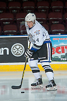 KELOWNA, CANADA - OCTOBER 26: Ralph Jarratt #4 of the Victoria Royals warms up with the puck against the Kelowna Rockets on October 26, 2016 at Prospera Place in Kelowna, British Columbia, Canada.  (Photo by Marissa Baecker/Shoot the Breeze)  *** Local Caption ***