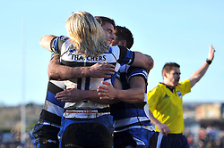 Tom Biggs (Bath) celebrates with his team-mates after scoring a try - Photo mandatory by-line: Patrick Khachfe/JMP - Tel: Mobile: 07966 386802 11/01/2014 - SPORT - RUGBY UNION -  Rodney Parade, Newport - Newport Gwent Dragons v Bath - Amlin Challenge Cup.