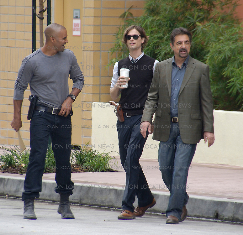 LOS ANGELES, CALIFORNIA - Thursday 11TH SEPTEMBER 2008. EXCLUSIVE: Joe Mantegna, Shemar Moore and Matthew Gray Gubler on the set of Criminal Minds. Photograph: On Location News. Sales: Eric Ford 1/818-613-3955 info@OnLocationNews.com