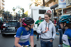 Retired rider Claudia Lichtenberg (GER) chats to riders after Stage 1 of the Setmana Cicilsta Valenciana - a 118 km road race, between Rotova and Gandia on February 22, 2018, in Valencia, Spain. (Photo by Balint Hamvas/Velofocus.com)